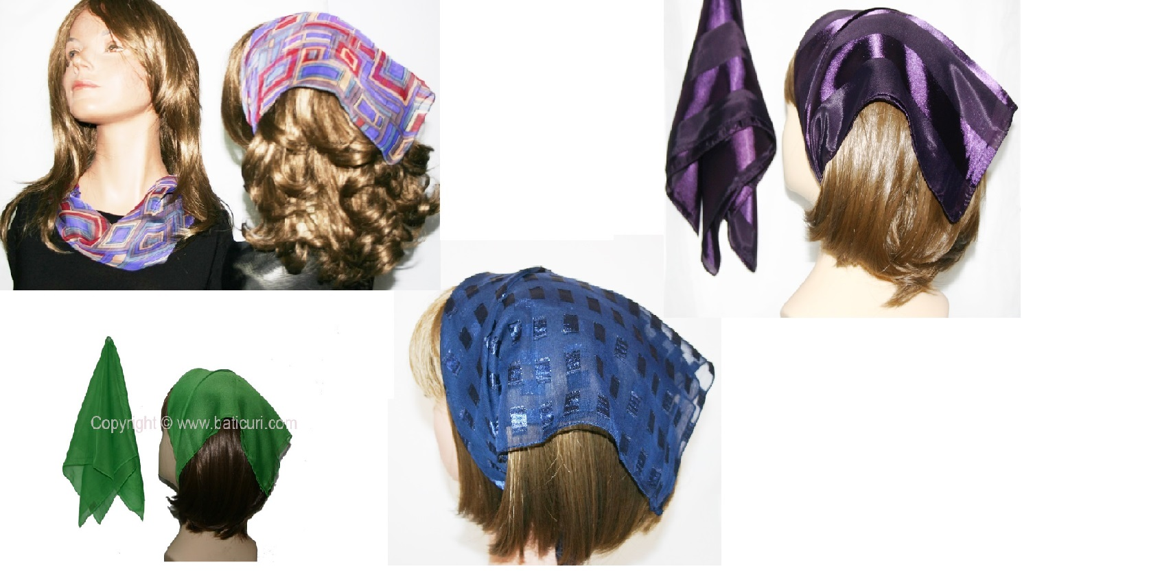 *Assorted Square Designs Small Polyester Scarves